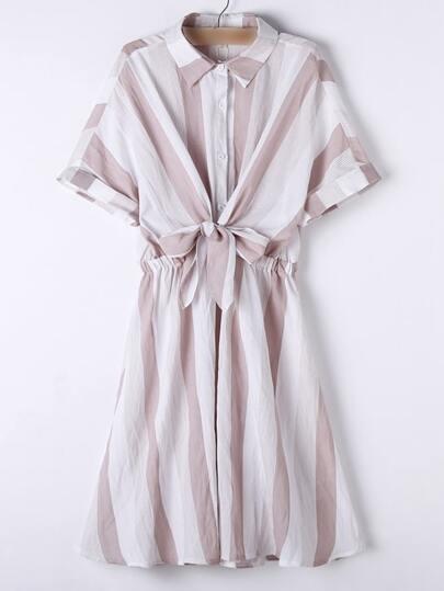 Apricot Lapel Roll-up Cuff Bow Stripe Dress