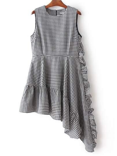 Black And White Plaid Asymmetric Ruffle Hem Dress