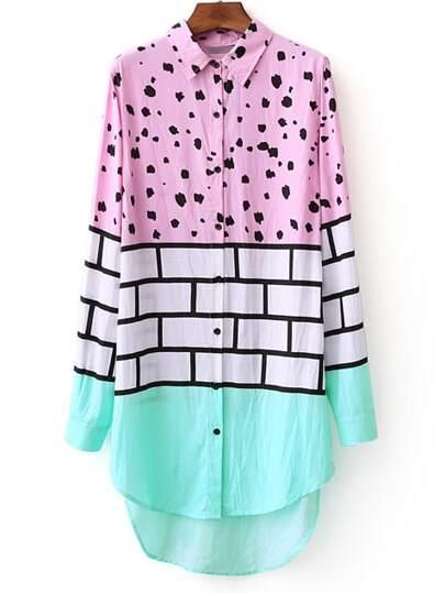Multicolor Polka Dot High Low Shirt Dress