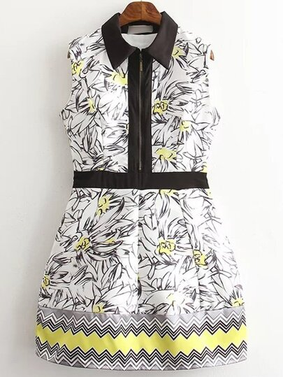 Multicolor Sleeveless Lapel Printed Zipper Dress