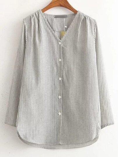 Grey Split Sleeve Stripe Button Blouse