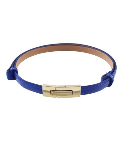 Blue Pu Leather Thin Belt