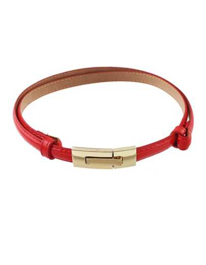 Red Pu Leather Thin Belt