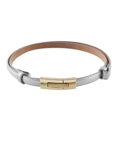 Silver Pu Leather Thin Belt