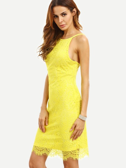 Yellow Spaghetti Strap Backless Crochet Bodycon Dress