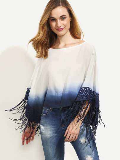 Ombre Crochet Fringe Trim Tie Back Blouse