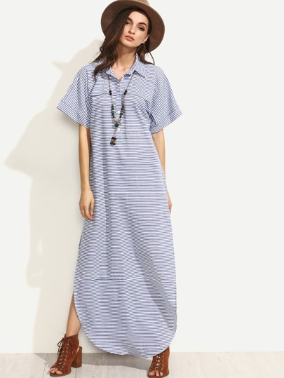 Blue Striped Turndown Collar Short Sleeve Split Maxi Dress