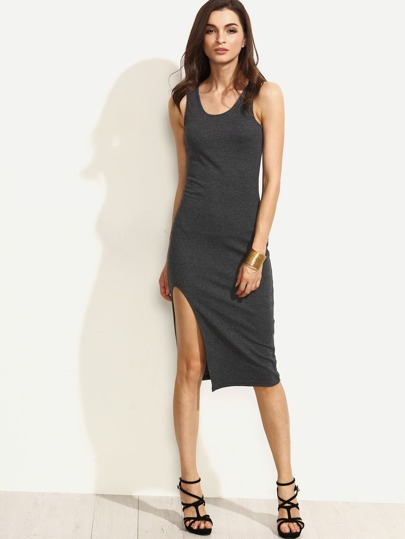 Grey Scoop Neck Sleeveless Split Sheath Dress