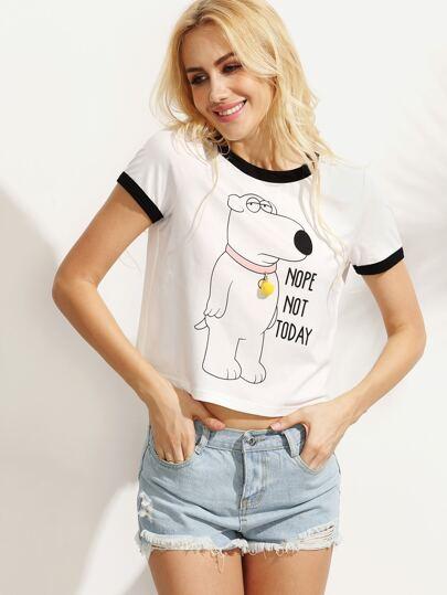 White Letters Animal Print Short Sleeve T-shirt