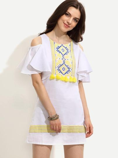 White Open Shoulder Tribal Print Tassel Trimmed Dress