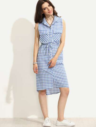 Blue Sleeveless Plaid Self Tie Shirt Dress