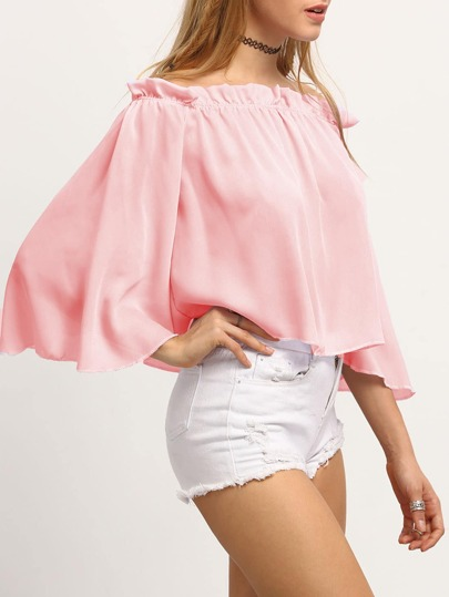 Pink Off-The-Shoulder Bell Sleeve Ruffle Blouse