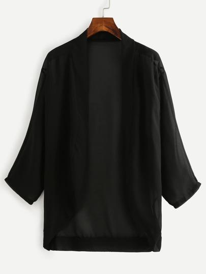 Kimono hombro drapeado gasa - negro