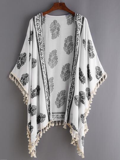 White Vintage Print Tassel Trimmed Kimono