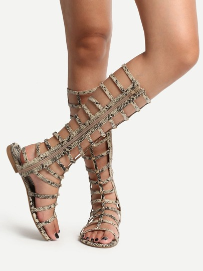 Sandalias peep toe cremallera gladiator