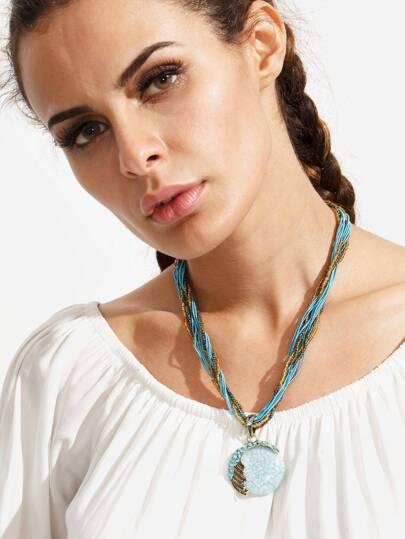 Vintage Gemstone Pendant Beads Necklace