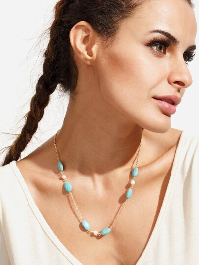 Turquoise Pearl Alloy Chain Necklace