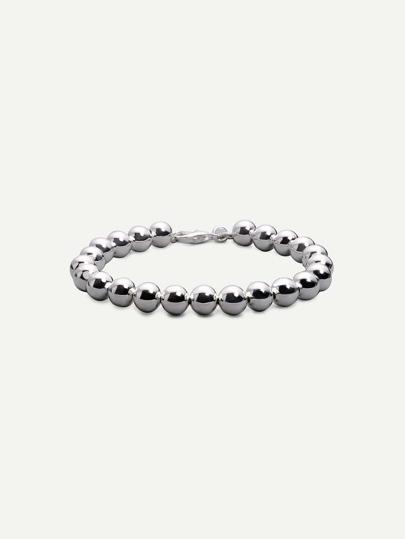 Silver Hollow Beads Bracelet