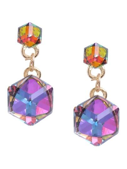 Cubic Crystal Drop Earrings