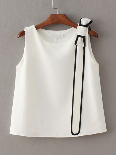 White Bow Embellished Tank Top