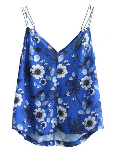 Blue V Neck Floral Cami Top