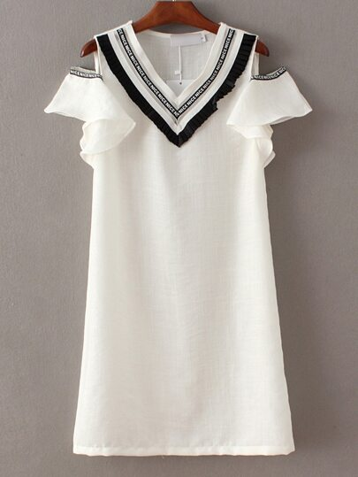 White V Neck Cold Shoulder Ruffle A-line Dress