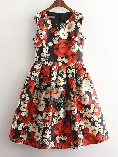 Red Sleeveless Floral Zipper Skater Dress