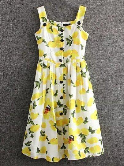 Yellow Lemon Printed Button Skater Dress