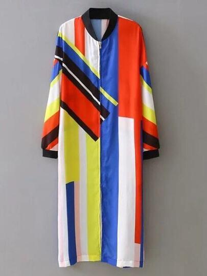 Multicolor Crew Neck Printed Zipper Coat