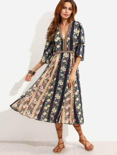 Multicolor Floral Print Chiffon Dress With Embroidered Tape Detail