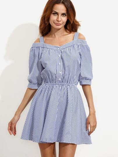 Blue Mixed Stripe Cold Shoulder Button Front Dress