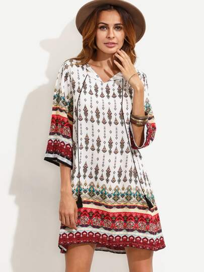 White Vintage Print Tassel Tie Neck Tunic Dress
