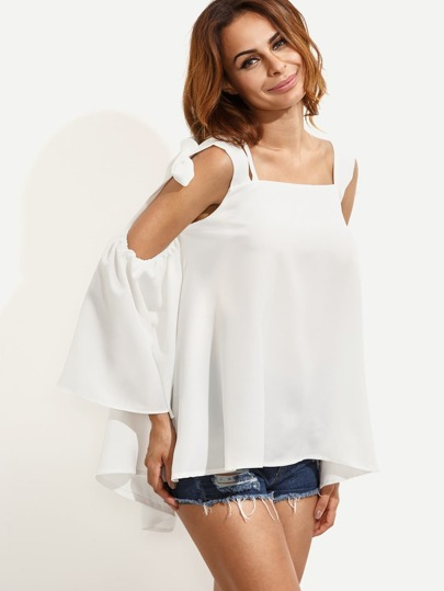 White Bell Sleeve Bow Tie Open Shoulder Blouse