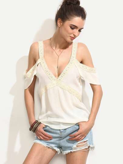 White V Neck Cold Shoulder Crochet Trim Blouse