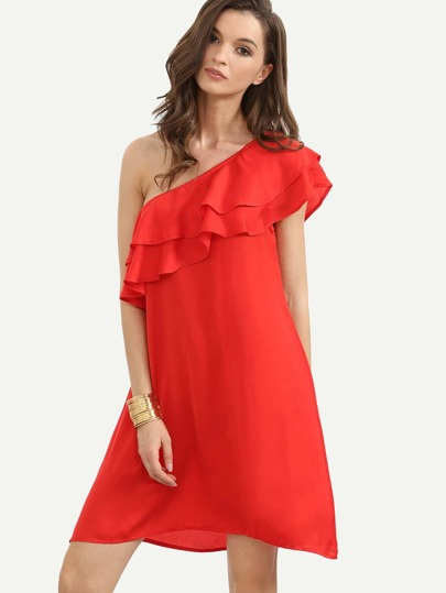 Red Ruffle One Shoulder Shift Dress