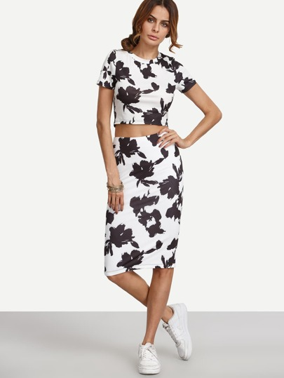 Black and White Print Crop Top With Skirt