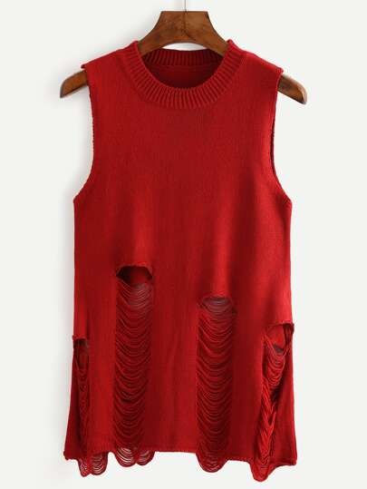 Burgundy Ripped Knitted Tank Top