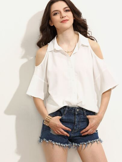 White Turndown Collar Cutout Back Cold Shoulder Button Blouse