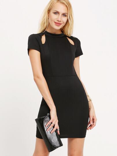 Black Cutout Short Sleeve Bodycon Dress