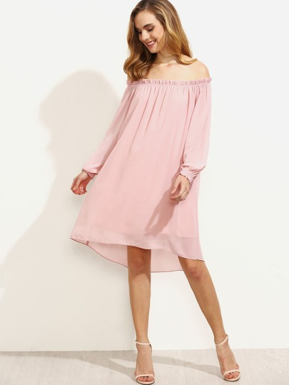 Pink Off The Shoulder Long Sleeve Shift Dress
