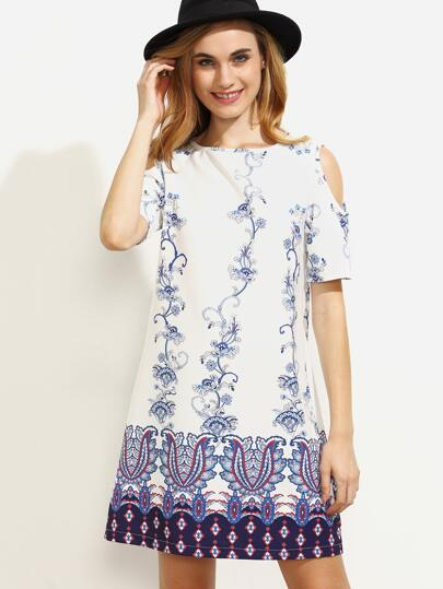 Multicolor Print Cold Shoulder Shift Dress