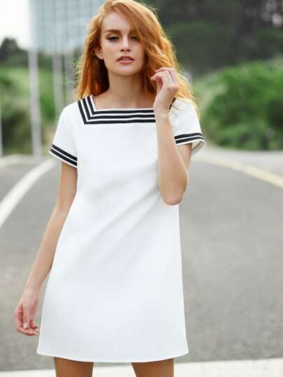 White Striped Trim Short Sleeve Dress With Pockets