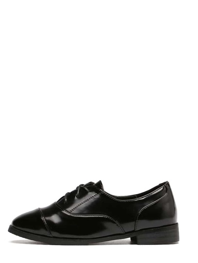 Black Square Toe Lace-up Patent Leather Heels