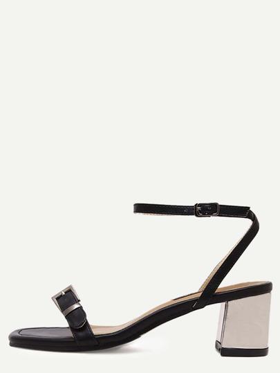 Sandalias cuadrada plusera tacón grueso - negro