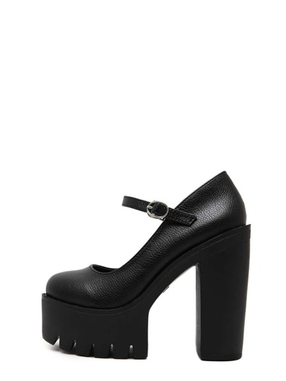 Black Round Toe Buckle Platform Chunky Pumps