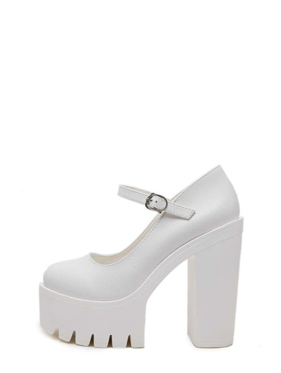White Round Toe Buckle Platform Chunky Pumps