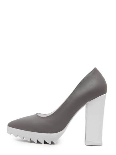 Grey Pointed Toe Zigzag Platform Chunky Pumps