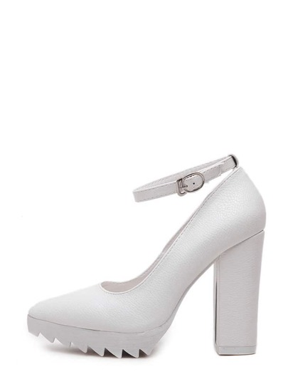 White Pointed Toe Buckle Zigzag Platform Chunky Pumps