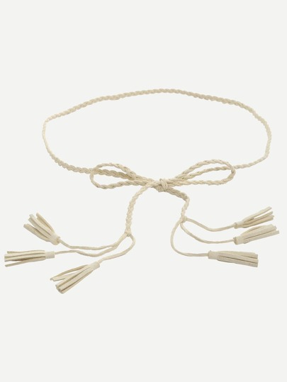 Beige Tassel Braided Leather Waist Rope
