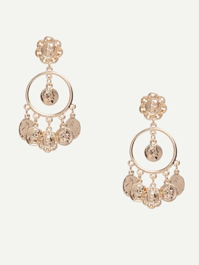 Golden Exaggerating Coin-shaped Drop Earrings